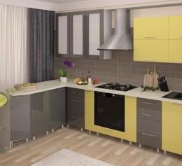 Угловая кухня «Желтый графит»